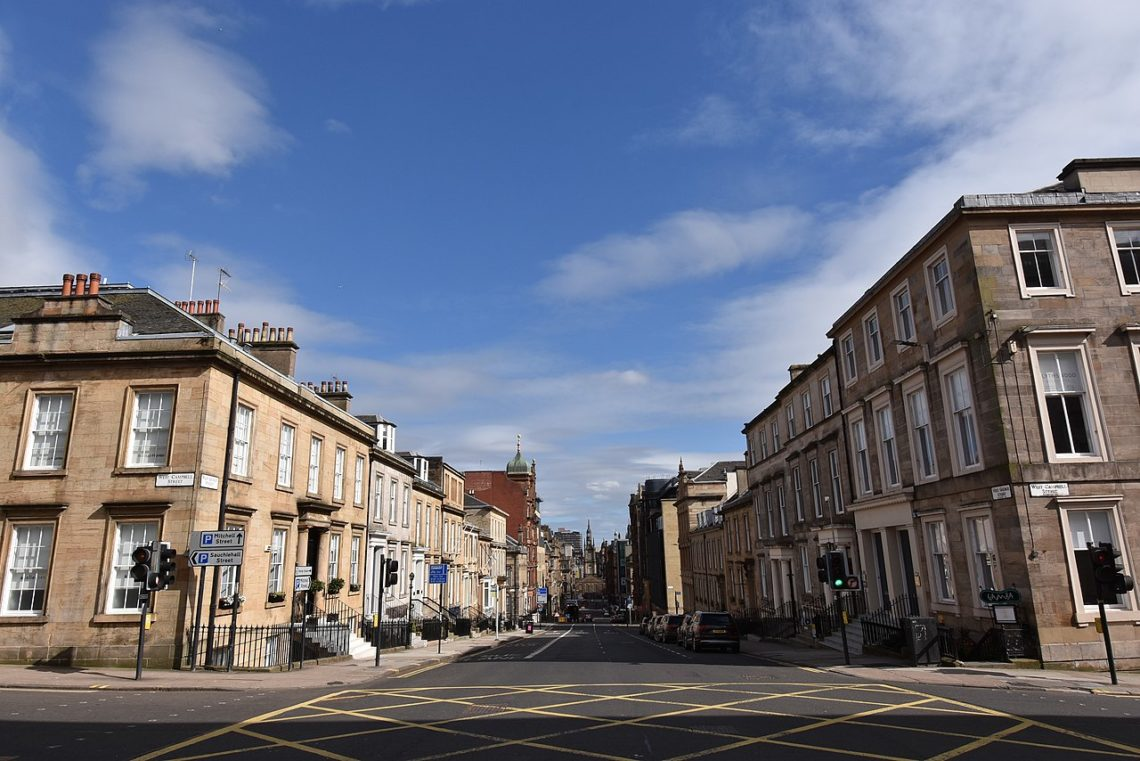 Glasgow: West George Street during coronavirus lockdown. Source: Daniel Naczk via Wikimedia Commons / CC BY-SA 4.0